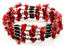 Magnetic Haematite and Coral Power Bracelet