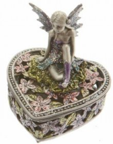 Pewter Fairy heart box A