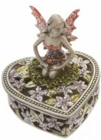 Pewter Fairy heart box B